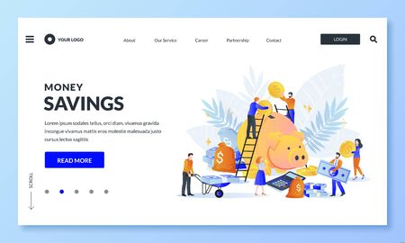 Money economy and save or retirement savings concept. Vector illustration. Youg people putting money to piggybank. Charity donation or business crowdfunding landing page, banner design template
