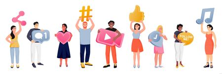 Diversity people with social media network symbols. Vector flat cartoon illustration, isolated on white background. Men and women with hashtag, map pin, chat message, like and follow me icons 向量圖像