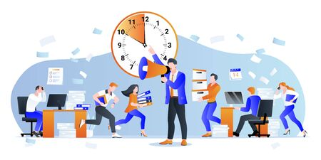 Project deadline and overtime working business concept. Vector flat cartoon characters illustration. CEO manager pressures office employees. Unorganized work and time management problems.