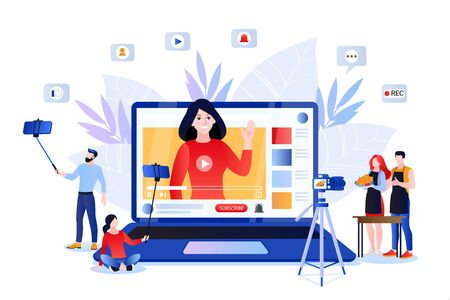 Vlog and trendy video content creation for social networks. Vector flat cartoon illustration of lifestyle bloggers and influencers. Internet media modern digital technology concept.