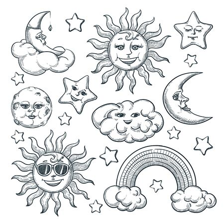 Sky vintage design elements set, isolated on white background. Vector hand drawn sketch illustration of moon, sun, star characters. Doodle space icons collection. 向量圖像