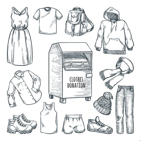 Clothes donation design elements. Vector hand drawn sketch illustration. Urban street bin for social humanitarian aid. City container box for used apparel or shoes donations 일러스트