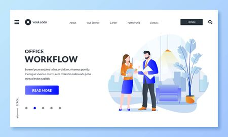 Teamwork, business communications and office workflow concept. Vector flat illustration of businesspeople characters. Colleagues man and woman look and discuss paper documents in modern office room