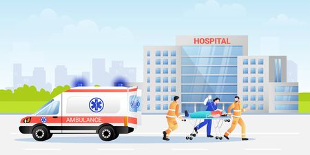 Paramedic and hospital nurse carrying patient in stretcher from ambulance car. Vector flat illustration of professional medical characters team. Emergency medicine and firs aid concept