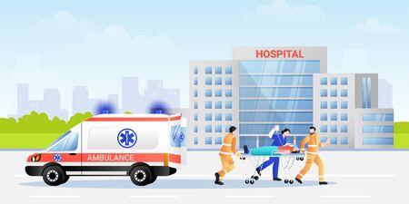 Paramedicus en ziekenhuisverpleegster die patiënt in brancard van ambulanceauto vervoert. Platte vectorillustratie van professionele medische karakters team. Spoedeisende geneeskunde en eerste hulp concept