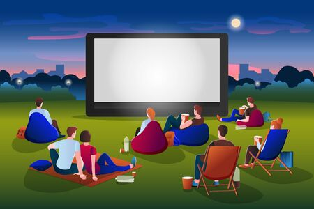 Open-air cinema vector flat cartoon illustration. People watching movie in night city park on large screen. Outdoor leisure, relax and fun. Film festival, events and entertainment presentation concept 向量圖像