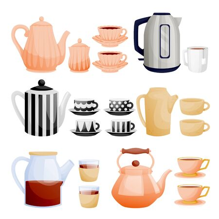Teapots and tea cups collection. Vector flat cartoon illustration. Ceramic, glass, porcelain utensil icons set. Kitchenware and home decoration isolated design elements