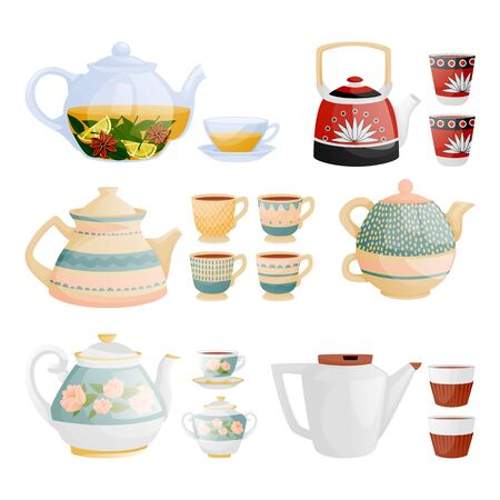 Tea or coffee utensil set, isolated on white background. Teapots and teacups vector icons. Ceramic and glass kitchenware flat cartoon illustration