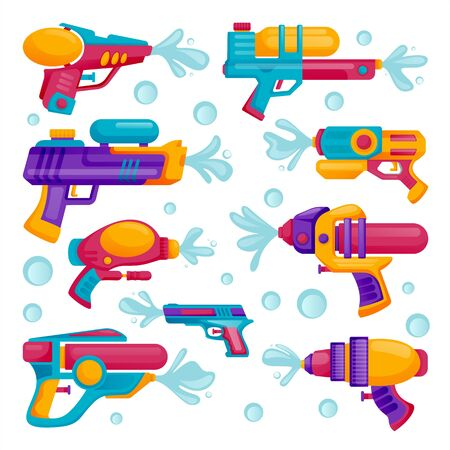 Water guns icons set, isolated on white background. Vector flat cartoon illustration. Multicolor kids water toys for playing on summer beach.