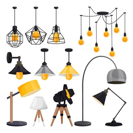Modern electric lamps collection. Wall lights, chandeliers, floor lamps, isolated on white background. Loft light bulbs equipment, vector illustration. Office or home interior design elements 向量圖像