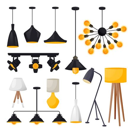 Modern electric lamps set, isolated on white background. Light bulbs equipment for loft apartment interior. Vector illustration. Home and office design elements.