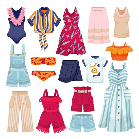 Female fashion summer apparel collection. Womens clothes icons and design elements set. Vector flat cartoon illustration. Stylish travel clothing, isolated on white background.