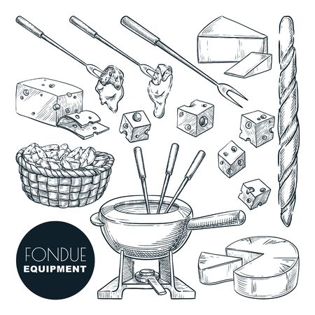 Cheese fondue fresh ingredients and equipment. Vector hand drawn sketch food illustration. Delicious gourmet french cuisine. Culinary meal recipes or restaurant menu design elements.