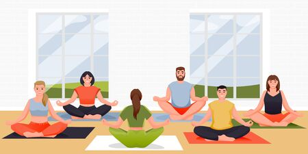 Yoga class vector flat cartoon illustration. People are sitting in lotus position on floor. Young women and men practicing yoga exercise and meditation with instructor in modern studio 向量圖像