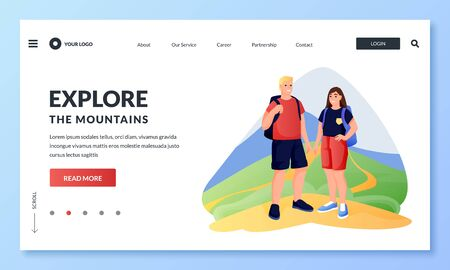 Young happy couple hiking and walking in the mountains. Vector flat cartoon illustration of spring or summer travel adventures and outdoor leisure. Concept of active eco tourism 向量圖像