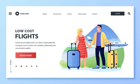 Couple travels by airplane. Man and woman with luggage in airport. Cartoon tourists characters. Vector flat illustration for web landing page banner. Concept of low cost flights and cheap air travel 向量圖像