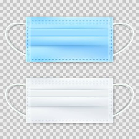 Surgical protective blue and white mask, isolated on transparent background. Vector 3d realistic illustration. Medical equipment for disease prevention.