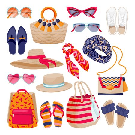 Female fashion summer accessories collection. Womens shoes, bags, sunglasses, hats, isolated on white background. Vector flat cartoon illustration. Fashionable icons and design elements set 向量圖像