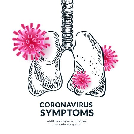 Chinese coronavirus and pneumonia symptoms concept. Vector illustration of human lungs with virus 2019-nCoV infection. Medical diagnosis and prevention, poster banner design template