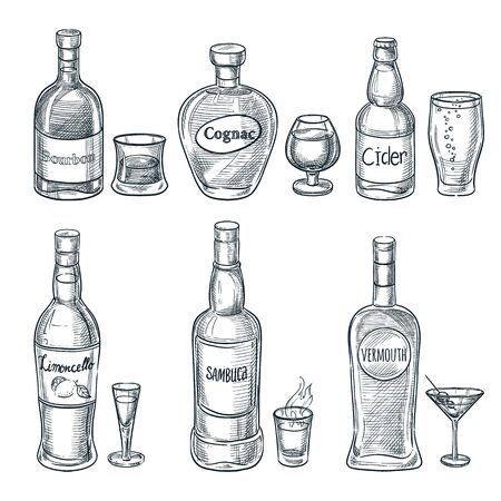 Alcohol drink bottles and glasses. Vector hand drawn sketch isolated illustration. Bar menu design elements. Bourbon, cognac and martini vintage outline icons set