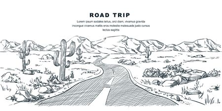 Desert and mountains road landscape. Vector vintage sketch illustration. Nature environment calm scene. Outdoor adventures and travel hand drawn background
