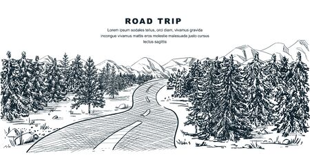 Road through pine forest. Vector vintage sketch landscape illustration. Nature environment calm scene. Outdoor adventures in mountains and travel hand drawn background