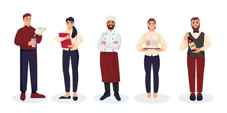 Restaurant staff team, isolated on white background. Vector flat illustration. Men and women professional catering workers. Waiters, chef, bartender and sommelier people cartoon characters set.