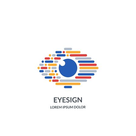 Eye vision logo sign or emblem design template. Abstract colorful morse code human eyes vector illustration. Concept for ophthalmology, optical technology and media, glasses lens