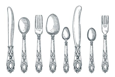 Table silver vintage cutlery. Vector hand drawn sketch illustration. Silverware spoon, knife and fork design elements, isolated on white background. Kitchen tableware set