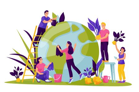 People take care of green Earth planet. Vector flat cartoon illustration for Save the Earth Day. Environment, ecology, nature protection abstract concept. Eco-friendly lifestyle.