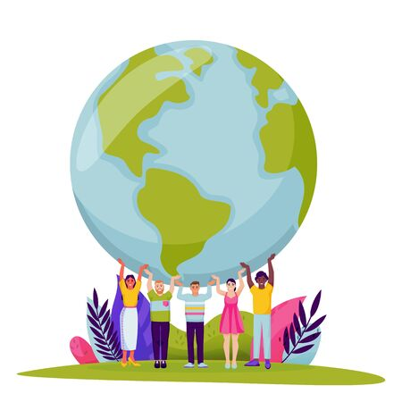 Diversity people holding Earth planet. Vector flat cartoon illustration for Save the Earth Day. Tiny men and women hold world globe on hands. Environment, ecology, nature conservation abstract concept 向量圖像