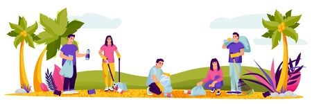People cleaning plastic garbage on public beach. Vector illustration. Environment, ecology lifestyle, nature conservation or social works concept. Members of volunteer organizations picking rubbish