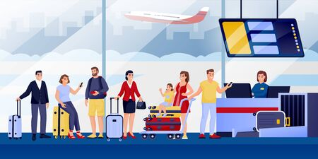 Enregistrement des vols au terminal de l'aéroport. Plate illustration vectorielle. Voyageurs avec bagages, personnages de dessins animés. Les gens font la queue au bureau d'inscription. Retard de vol ou concept de surréservation.