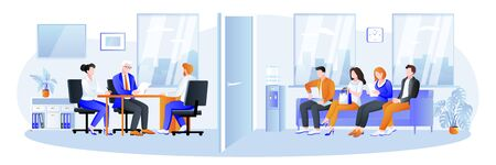 Meeting and communications with job candidates and office interview. Recruitment, hiring and conclusion of labor contract business concept. Vector illustration of office business characters. 向量圖像