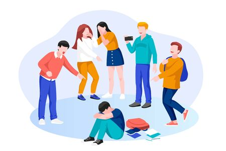 Kids school bullying and abuse concept. Vector flat cartoon illustration of teenagers characters. Group of children bullies mocks sad boy