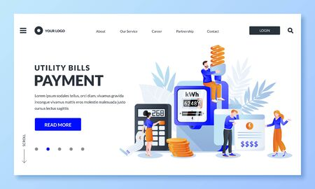 Save energy, pay utility bills concept. Vector illustration of people characters, invoice and electricity meter. Man and woman worried and stressed over bills. Banner or poster design template