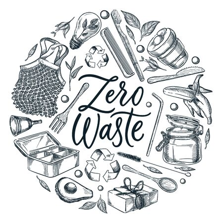 Zero waste calligraphy lettering poster or label design template. Vector sketch illustration of natural reusable items and accessories on white background. Recycling and eco lifestyle concept