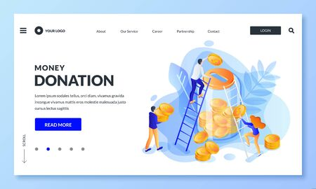 Money donation concept. Vector 3d isometric illustration. People putting money to glass bank. Economy, deposit for retirement, charity or crowdfunding landing page, banner or poster design template.