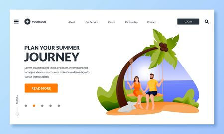 Young happy couple have vacation sitting on swing under palm tree on tropical beach. Vector flat cartoon illustration of summer travel, sea resorts. Romantic man and woman characters.