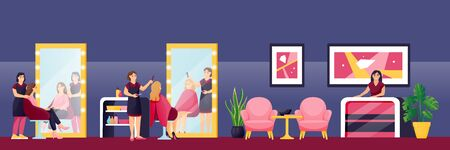 Young beautiful girls cut their hair and styling at hairdresser stylist in beauty salon. Vector flat cartoon illustration. Female fashion and beauty lifestyle concept. Luxury salon interior background