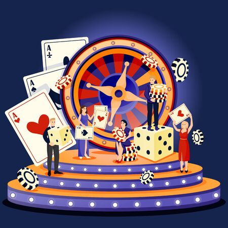 Casino roulette and gambling games concept. People with poker chips and dice. Vector flat cartoon characters illustration. Men in tuxedos, women in evening dresses spend time playing casino games