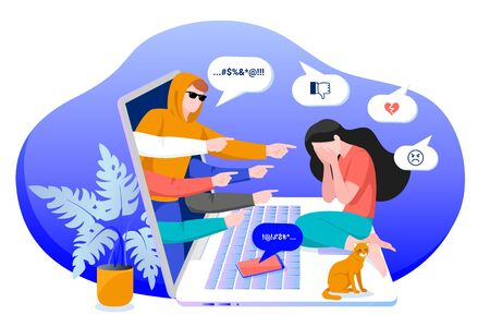 Cyber bullying in social networks and online abuse concept. Vector flat cartoon illustration of upset girl character. Young woman crying in front of laptop screen due to haters messages