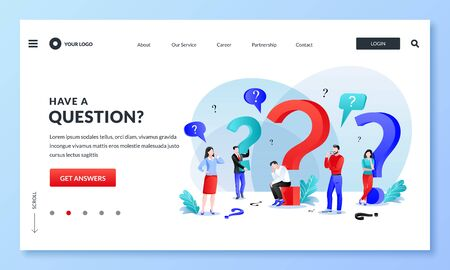 Frequently asked questions, FAQ, answers and problem solutions concept. Miniature people with question marks, business metaphor. Vector flat cartoon characters. Abstract landing page illustration