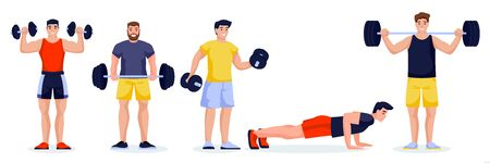 Male athletes or bodybuilding instructors in different poses on white background. Fitness and gym characters with barbells and dumbbells. Vector flat cartoon illustration of workout men