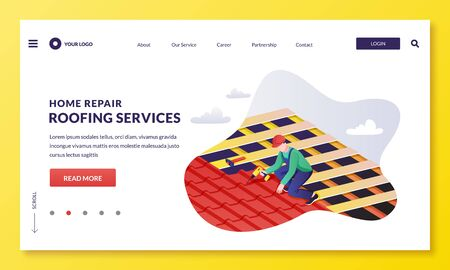 Handyman worker repairs house roof. Roofer laying red tile. House construction and renovation roofing. Vector flat cartoon illustration. Home repair and restoration services concept. Ilustracja