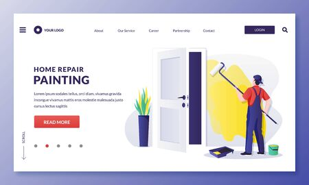 Painter worker paints wall with yellow paint. Handyman makes house repair works, staining and painting. Vector flat cartoon illustration. Home repair, decoration and restoration services concept
