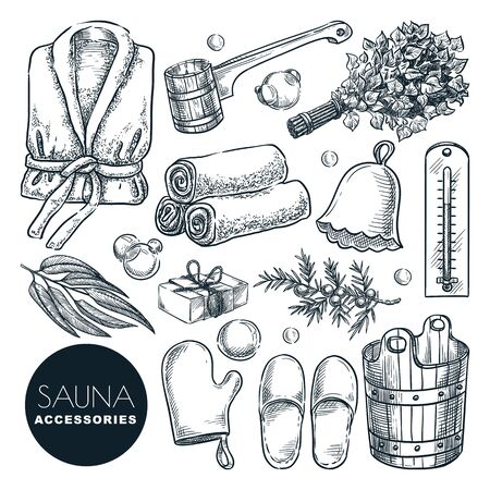 Sauna and bathhouse accessories and equipment set. Vector hand drawn sketch illustration. Bath and spa isolated design elements. Wooden bucket, birch broom, ladle and bathrobe doodle icons. Vetores