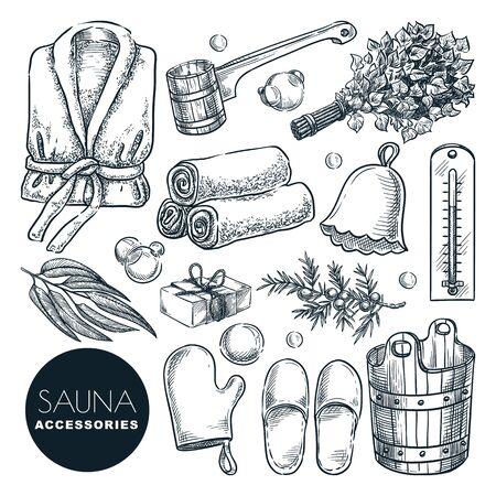 Zubehör- und Ausstattungsset für Sauna und Badehaus. Gezeichnete Skizzenillustration des Vektors Hand. Bad und Spa isolierte Designelemente. Holzeimer, Birkenbesen, Schöpfkelle und Bademantel-Doodle-Symbole. Vektorgrafik