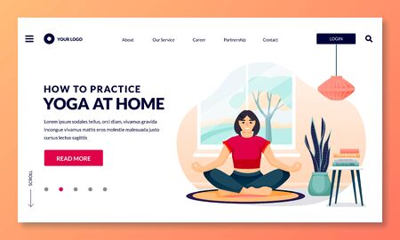 Home yoga exercise practice and meditation. Young woman sits in lotus position in cozy room. Vector flat cartoon girl character illustration. Healthy lifestyle and relaxing time at home 向量圖像