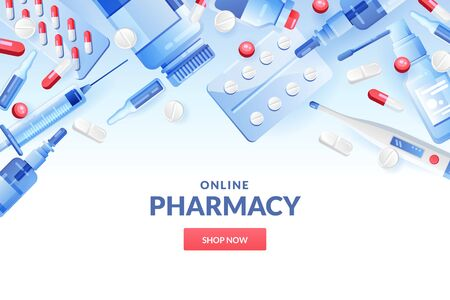 Medicine and pharmacy abstract background in blue and white colors. Drugstore banner or poster design template with pills, drugs, medical bottles. Vector modern gradient illustration. Vektorové ilustrace